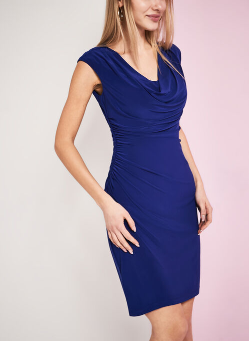 Drape Cowl Neck Jersey Dress, Blue, hi-res