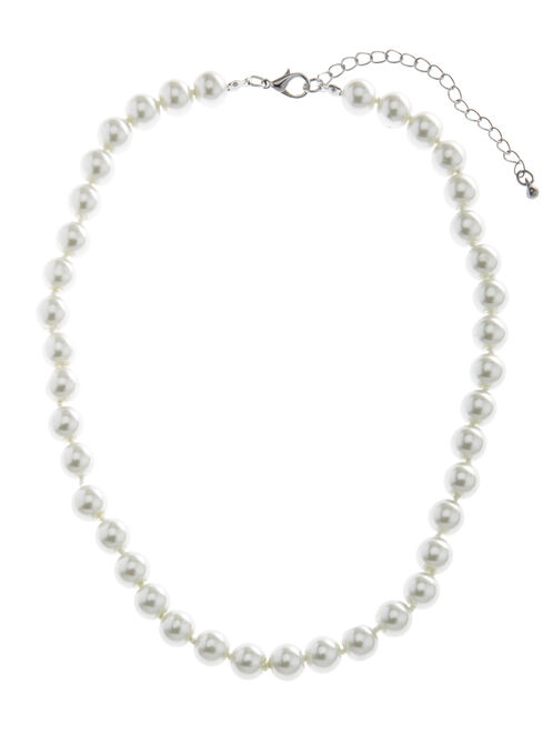 Classic Pearl Necklace, Off White, hi-res