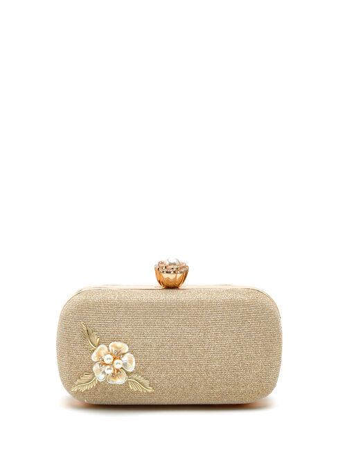 Floral Appliqué Glitter Box Clutch, Gold, hi-res