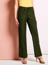 Modern Fit Straight Leg Linen Pants, Green, hi-res