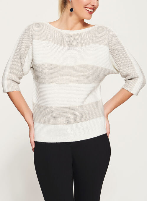 3/4 Sleeve Stripe Print Double Knit Sweater, White, hi-res