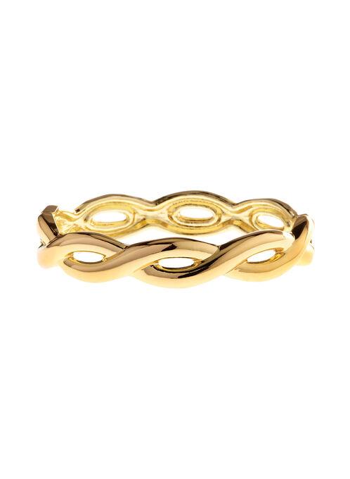 Twisted Open Hinge Bangle, Gold, hi-res