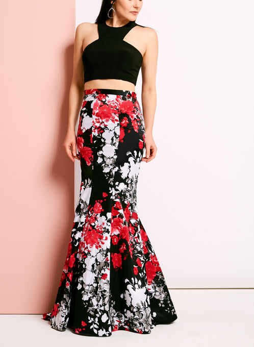 Two Piece Floral Print Gown, Black, hi-res