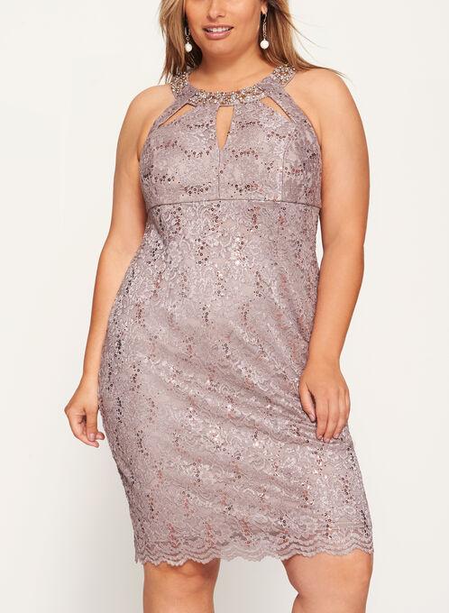 Embellished Cleo Neck Lace Dress, Silver, hi-res