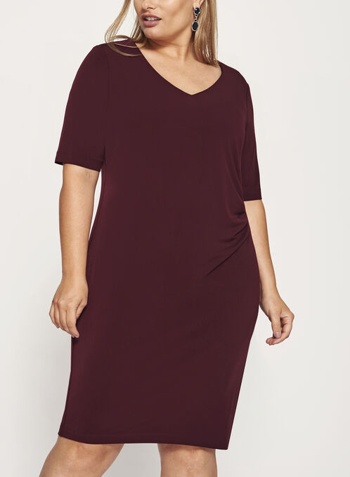 Sunburst Pleated Jersey Dress, Purple, hi-res