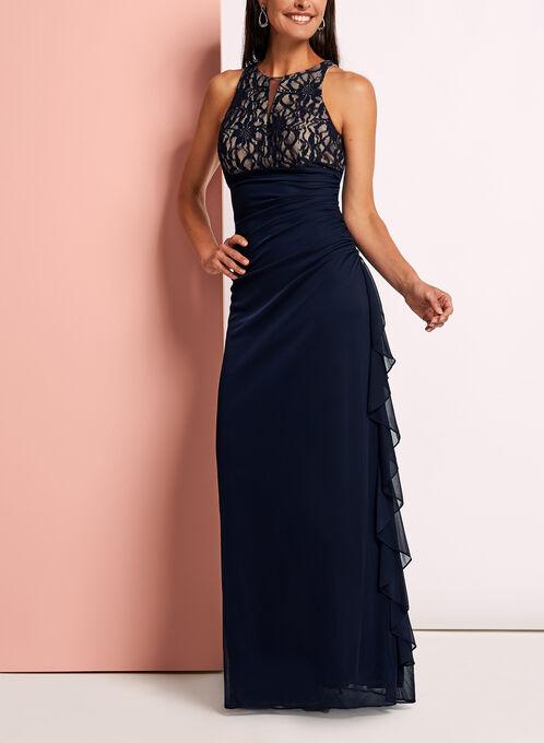 Lace Bodice Mesh Keyhole Dress, Blue, hi-res
