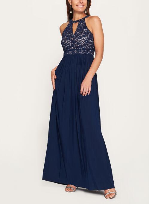 Glitter & Sequin Lace Dress, Blue, hi-res