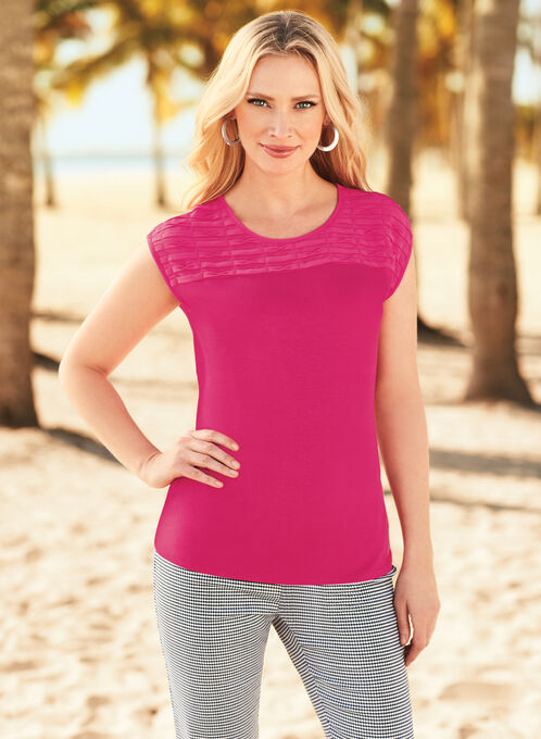 Sleeveless Textured Chiffon Top, Pink, hi-res