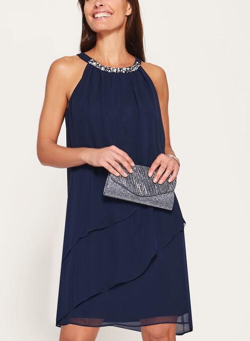 Cleo Neck Tiered Chiffon Dress, Blue, hi-res