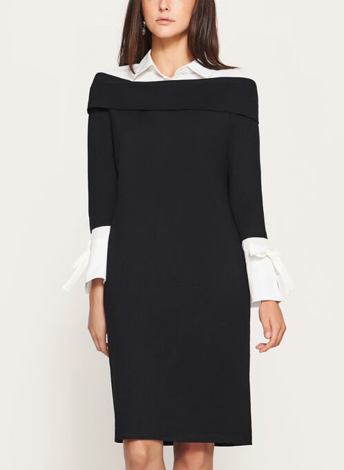 Elena Wang - Shirt Collar Dress, Black, hi-res