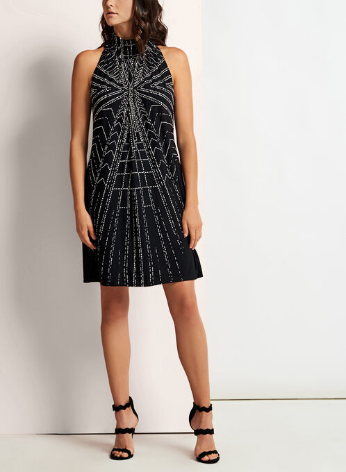 Geometric Print Mock Elastic Neck Dress, Black, hi-res