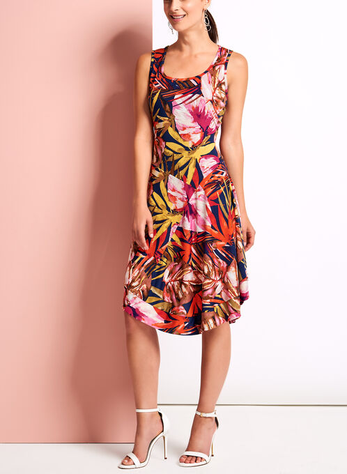 Tropical Print Asymmetric Dress, Red, hi-res