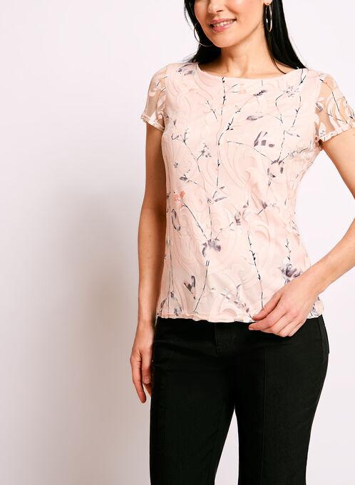 Floral Burnout Print Mesh Overlay Top, Pink, hi-res