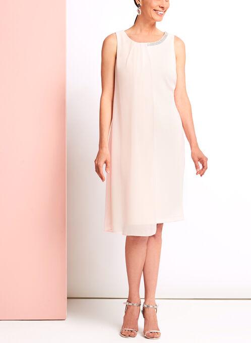 Embellished Chiffon Scuba Dress, Pink, hi-res
