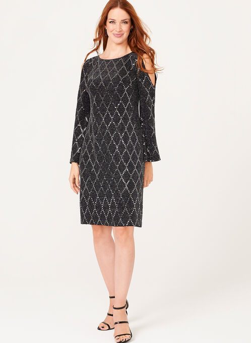 Sequin Embellished Cold Shoulder Dress, Silver, hi-res