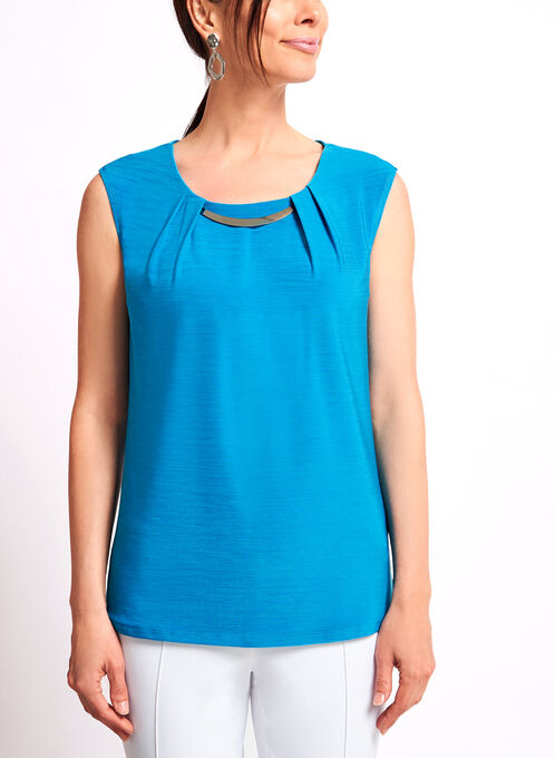 Embellished Sleeveless Jersey Top, Blue, hi-res