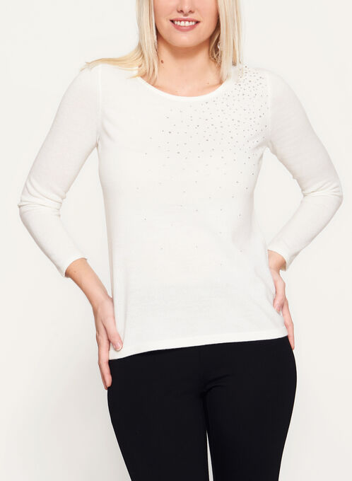 Crystal Embellished Long Sleeve Sweater, Off White, hi-res