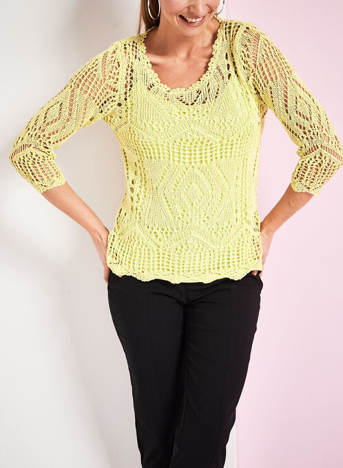 Crochet Knit Sweater with Matching Tank, Green, hi-res