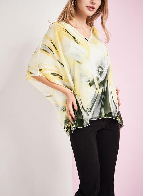 3/4 Sleeve Printed Poncho Blouse, Yellow, hi-res