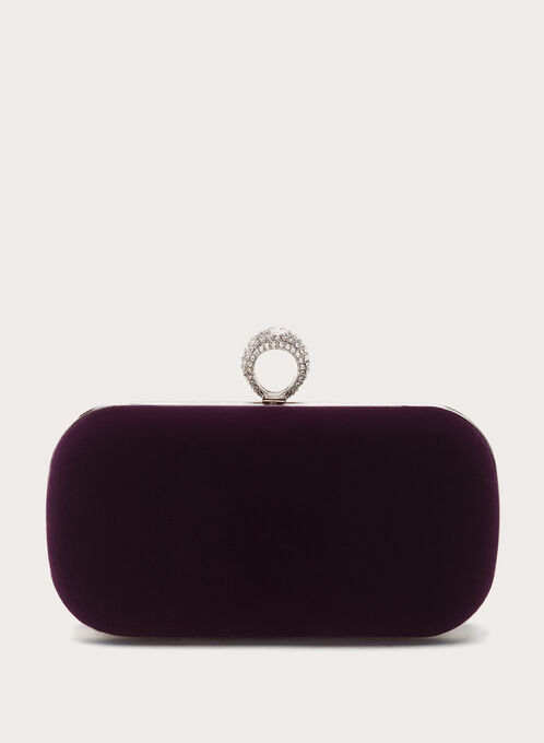 Crystal Ring Velvet Box Clutch, Purple, hi-res