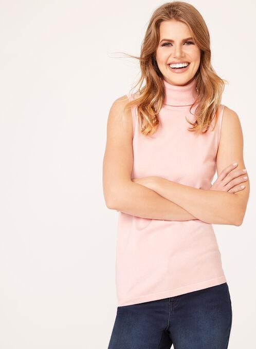 Sleeveless Turtleneck Sweater, Pink, hi-res