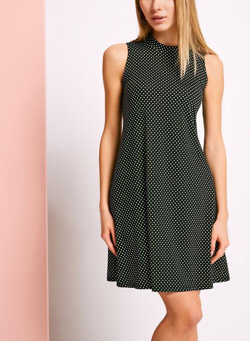Mock Neck Dot Print Trapeze Dress, Black, hi-res