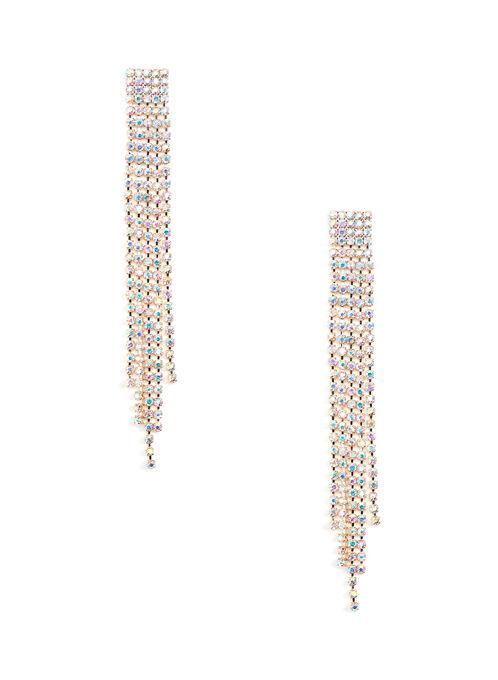 Elongated Crystal Earrings, Multi, hi-res