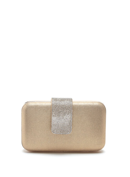 Contrast Crystal Flapover Minaudiere, Gold, hi-res