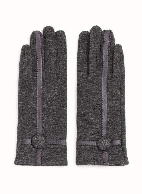 Leather Trim Knit Gloves, Grey, hi-res
