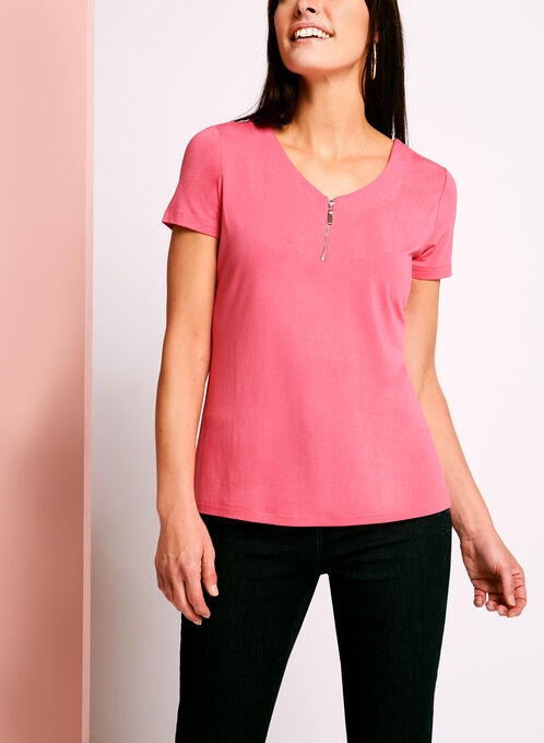 Zip Detail Double V-Neck T-Shirt, Pink, hi-res