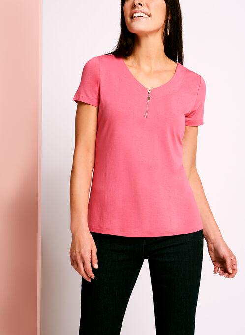 Zip Detail Double V-Neck T-Shirt, Pink, hi-res
