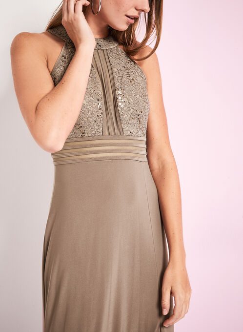 Jersey & Sequin Lace Gown, Brown, hi-res