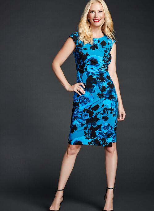 Floral Print Faux Wrap Dress, Blue, hi-res