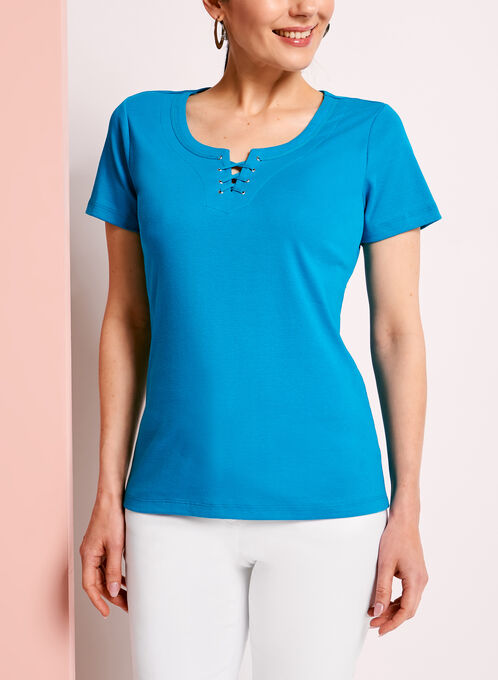 Scoop Neck Lace-Up T-Shirt, Blue, hi-res