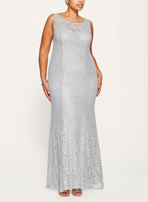 Sequin Lace Mermaid Dress with Chiffon Poncho, Silver, hi-res
