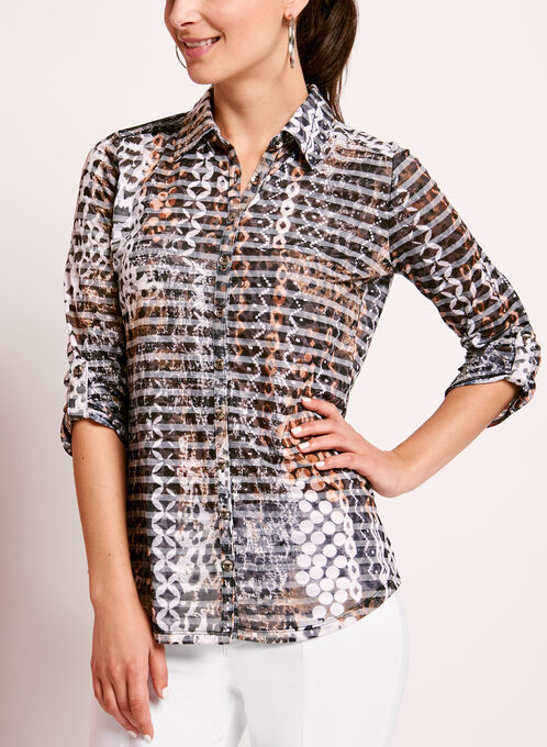 Animal Print Button Down Cotton Shirt, Brown, hi-res