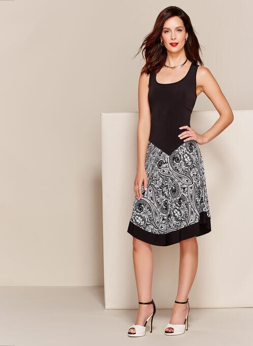 Paisley Print Asymmetric Jersey Dress, Black, hi-res