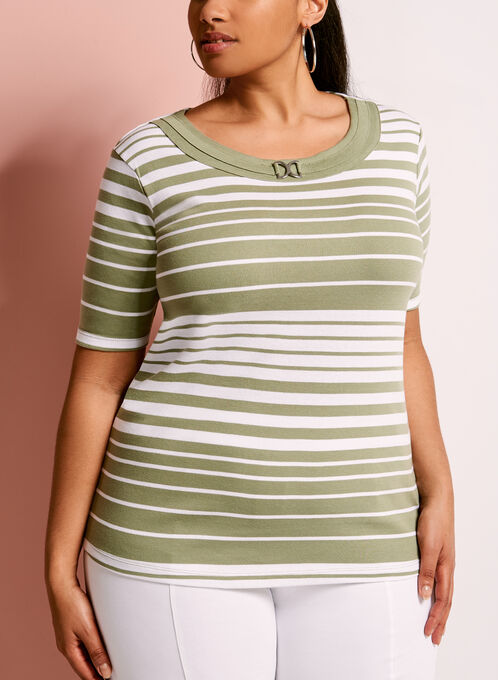 Stripe Print Ring Trim T-Shirt, Green, hi-res