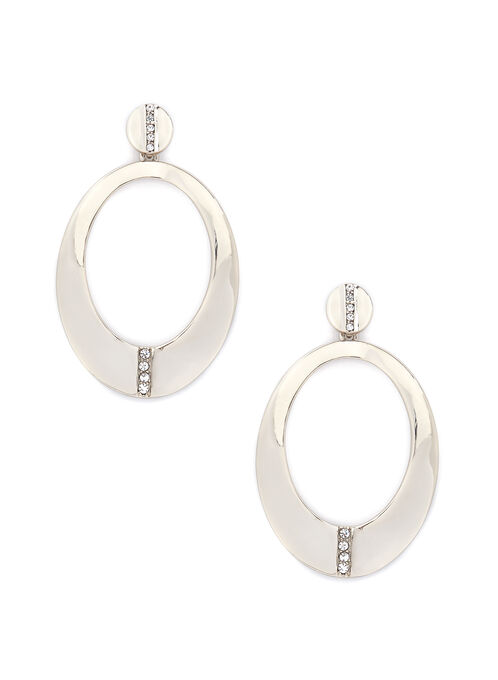 Oval Dangle Earrings, Gold, hi-res