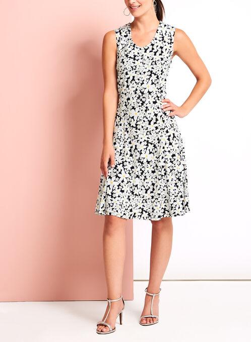 Daisy Print Fit & Flare Dress, Black, hi-res