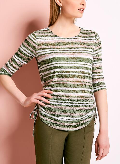 Stripe Print Side Tie Top, Green, hi-res