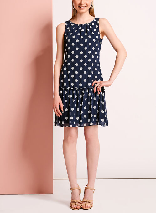 Dot Print Chiffon Flounce Dress, Blue, hi-res