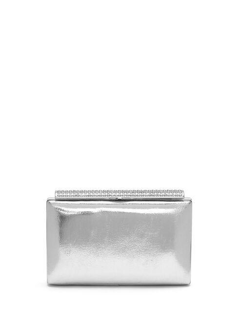 Crystal Metallic Box Clutch, Silver, hi-res