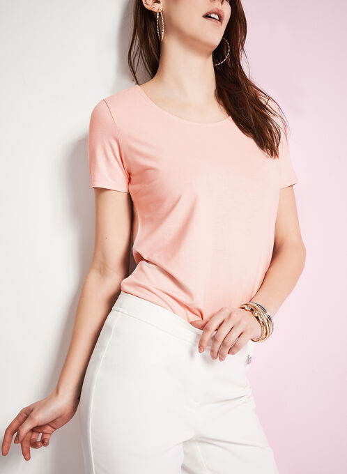 Scoop Neck Short Sleeve T-Shirt, Pink, hi-res