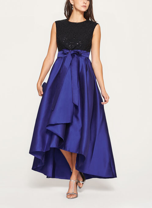 Sequin Lace Taffeta Gown, Multi, hi-res