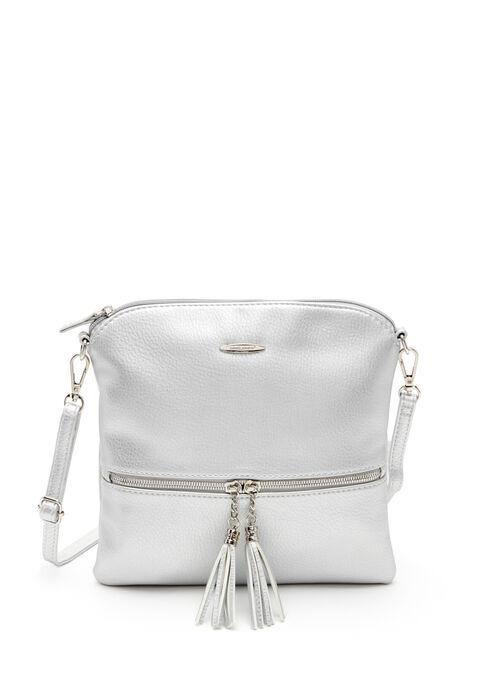 Tassel Trim Crossbody Bag, Silver, hi-res