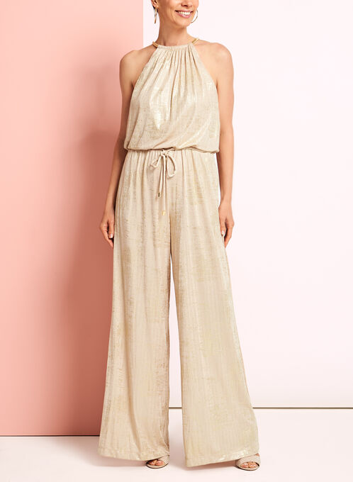 Metallic Knit Wide Leg Jumpsuit, Gold, hi-res