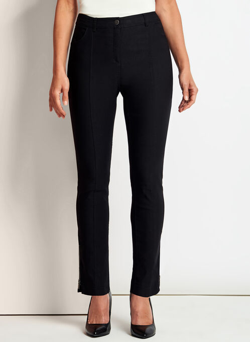 Modern Fit Slim Leg 7/8 Pants, Black, hi-res