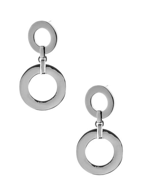 Double Ring Dangle Earrings, Grey, hi-res