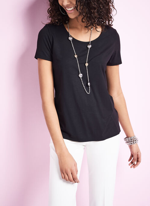 Scoop Neck Short Sleeve T-Shirt, Black, hi-res